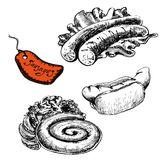 Sausages. Set of  illustrations Royalty Free Stock Photo