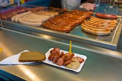 Sausages at a snack stall Stock Photos