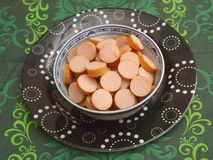 Sausages. Some fresh sausages of pork meat Royalty Free Stock Image
