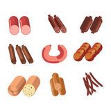 Sausages sorts meat gastronomy or butcher shop delicatessen products vector icons Royalty Free Stock Photo