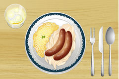 Sausages with spaetzle Royalty Free Stock Photos