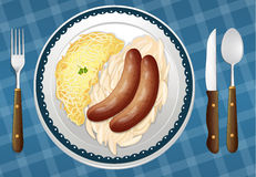 Sausages, Spaetzle and Sauerkraut Royalty Free Stock Images
