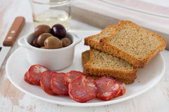 Sausages with toasts Royalty Free Stock Photos
