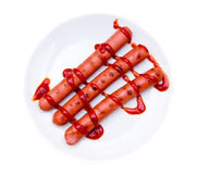 Sausages with tomato sauce from above Royalty Free Stock Photography