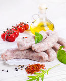 Sausages with tomatoe Royalty Free Stock Image