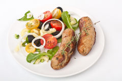 Sausages with Vegetable Salad Stock Image