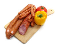 Sausages and vegetables Royalty Free Stock Photos