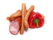 Sausages and vegetables Royalty Free Stock Images