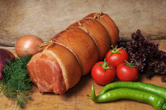sausages and vegetables Stock Photo
