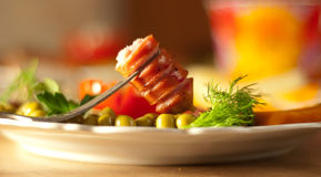 Sausages and vegetables on a dish, a breakfast Stock Image