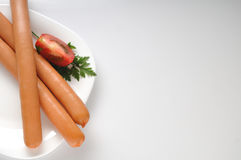 Sausages on a white background Royalty Free Stock Photo