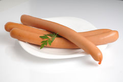 Sausages on a white background Stock Image