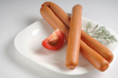 Sausages on a white background Royalty Free Stock Photography
