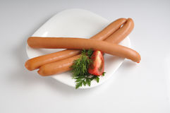 Sausages on a white background Royalty Free Stock Photos