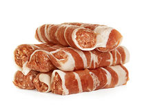 Sausages wrapped in bacon, chevapchichi isolated on white Royalty Free Stock Photo