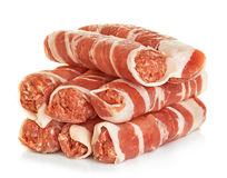 Sausages wrapped in bacon, chevapchichi isolated stock photos