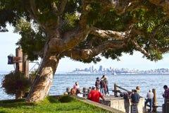 Sausalito江边,对旧金山地平线的看法  免版税库存图片