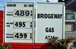 High Gas Prices. SAUSALITO, CA - FEBRUARY 23:  Gas prices approach 5.00 per gallon on February 23, 2013, in Sausalito, California Royalty Free Stock Image