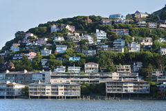 Sausalito Hillside Homes. View of colorful hillside homes in Sausalito, across the Golden Gate Bridge from San Francisco. Horizontal format Royalty Free Stock Photos