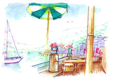 Sausalito view from the bay cafe illustration. Color pen drawing the bay view of Sausalito island in San francisco, california. It's breezing beautiful scenario Stock Photos