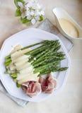 Sause dei gollandes dell'asparago Fotografia Stock Libera da Diritti