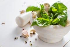 Sause et ingrédients de pesto sur le fond blanc Images libres de droits