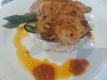 Sause piccante del riso del pesce e del gelsomino di Barramundi fotografie stock