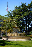 Sausilito Fountain And Flag. The Fountain in the central square of Sausilito, California on a beautiful sunny day Royalty Free Stock Photo
