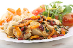 Sautéed fried breast chicken with vegetables Royalty Free Stock Photo