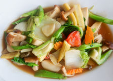 Sautéed mixed vegetables in oyster sauce Stock Photos
