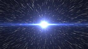 Saut d'hyperespace Par la galaxie à une planète éloignée 4K illustration stock