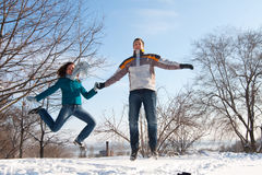 Saut de couples Photos libres de droits