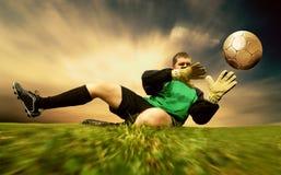 Saut de goalman Photographie stock libre de droits