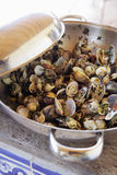 Saut de mollusques et crustacés avec des herbes Images stock