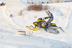 Saut de motoneige de sport Photographie stock libre de droits