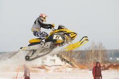 Saut de motoneige de sport Photographie stock