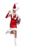 Saut de Noël heureux images libres de droits