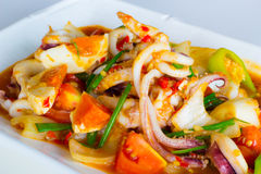 Sauté squid with salted egg Royalty Free Stock Image