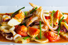 Sauté squid with salted egg Stock Image