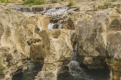 Sautadet waterfall. Waterfall of the river Cèze in Provence Stock Image