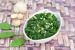 Saute garlic spinach. Homemade sautéed garlic spinach Stock Images