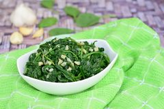 Saute garlic spinach Stock Image