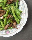 Saute green bean with beef Stock Photos