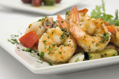 Saute Shrimps with stir fry. Garden vegatables Royalty Free Stock Photos