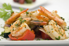 Saute Shrimps with stir fry. Garden vegatables Stock Photo