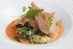 Sautéed Gnocchi with lobster sauce Royalty Free Stock Photos
