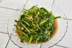 Sauted Japanese spinach Stock Photo