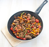 Sauted meat and vegetables Royalty Free Stock Photo