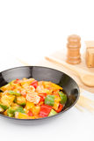 Sauted mixed vegetables and shrimp with tomato sauce Stock Photo