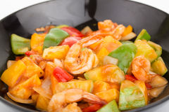 Sauted mixed vegetables and shrimp with tomato sauce Royalty Free Stock Photography